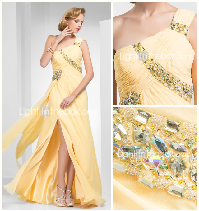 A-line One-Shoulder Sweep/Brush Train Chiffon Evening Dress