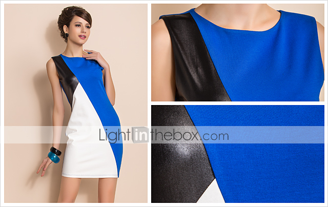 TS Trendy Contrast Color Leather Stitching Slim Dress