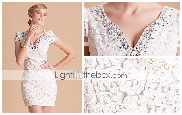 TS High End V Neck Handmade Beads Lace Sheath Dress