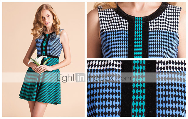 TS Contrast Color Checked Sleeveless Jersey Swing Dress
