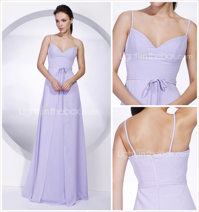 Empire Spaghetti Straps Floor-length Chiffon Bridesmaid/ Wedding Party Dress
