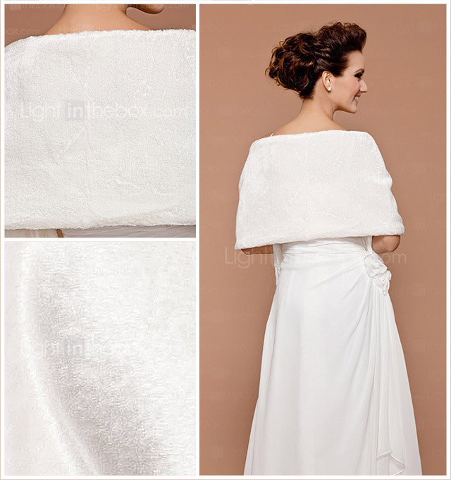 rmellos Kunstpelz Braut Hochzeit Jacke / Wrap (0061-16)