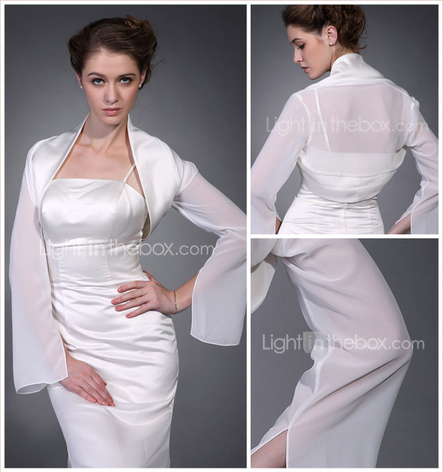 Long Sleeves Satin Chiffon Bridal Jacket/ Wedding Wrap
