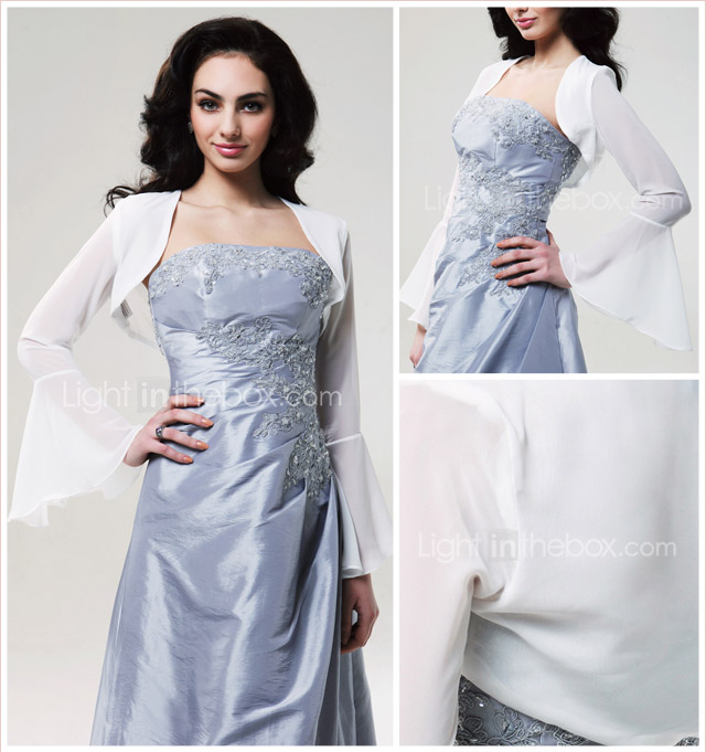 Long Sleeves Chiffon Bridal Jacket/ Wedding Wrap