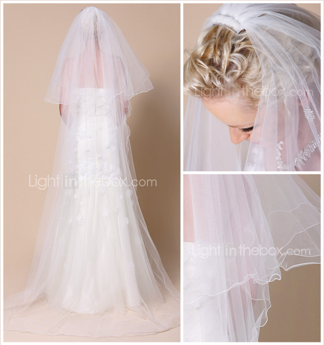 Two-tier Chapel Wedding Veil With Pencil Edge