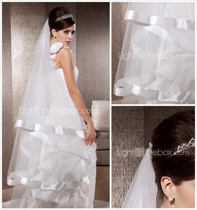 One-tier Chapel Wedding Veils With Ribbon Edge