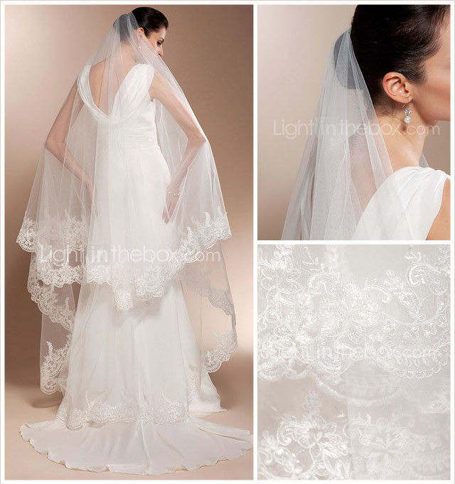Beautiful One-tier Cathedral Wedding Veils With Lace Applique Edge