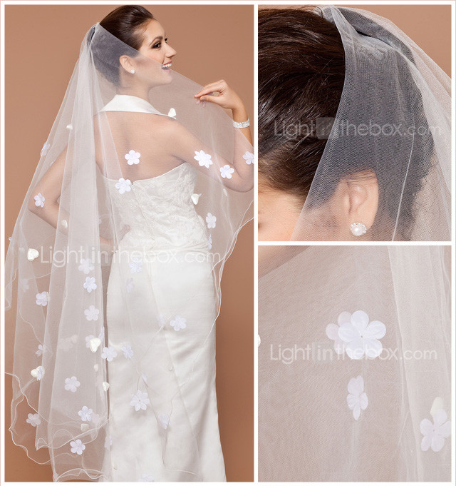 One-tier Chapel Wedding Veil With Pencil Edge