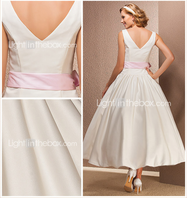 Ball Gown Bateau Tea-length Satin Wedding Dress