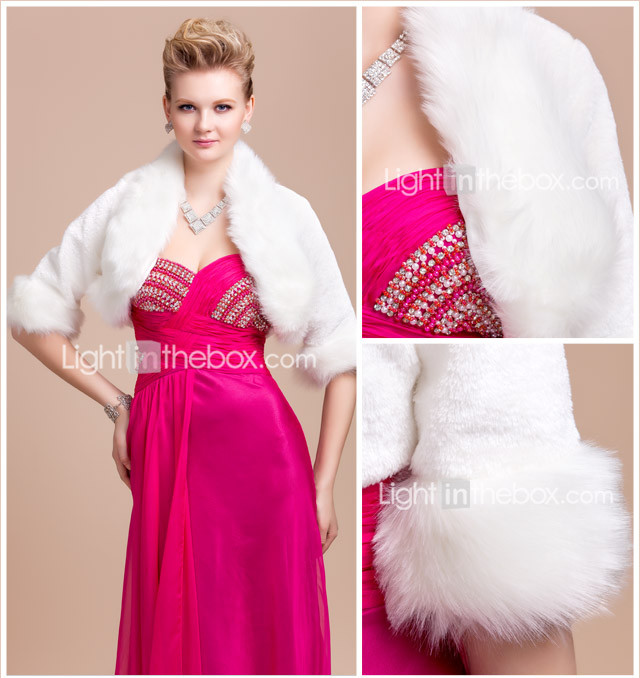 Elegant Long Sleeve Faux Fur Evening/Wedding Jacket/Wrap