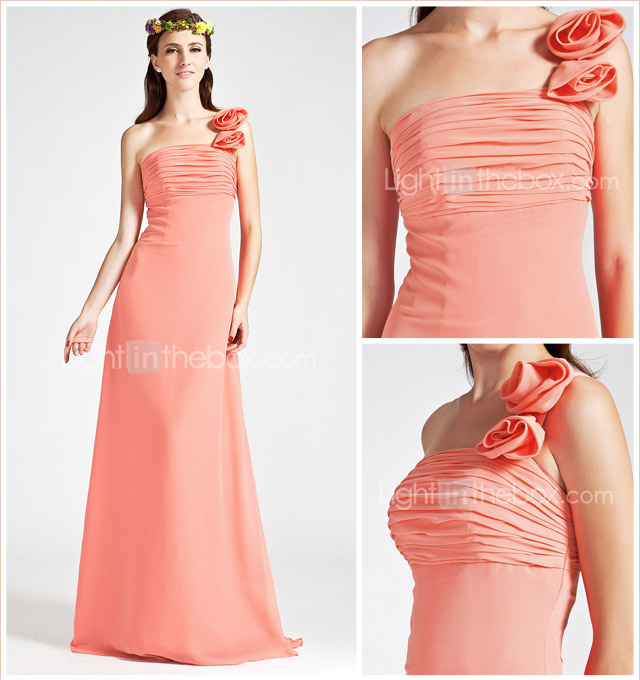 Empire One Shoulder Sleeveless Floor-length Chiffon Wedding Party/Evening Dress