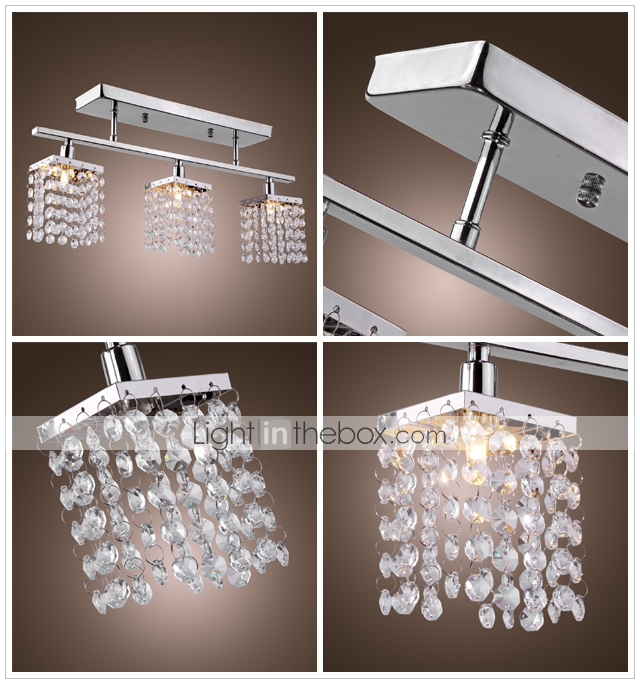 Chandelier with 3 lights in Crystal - Linear Design