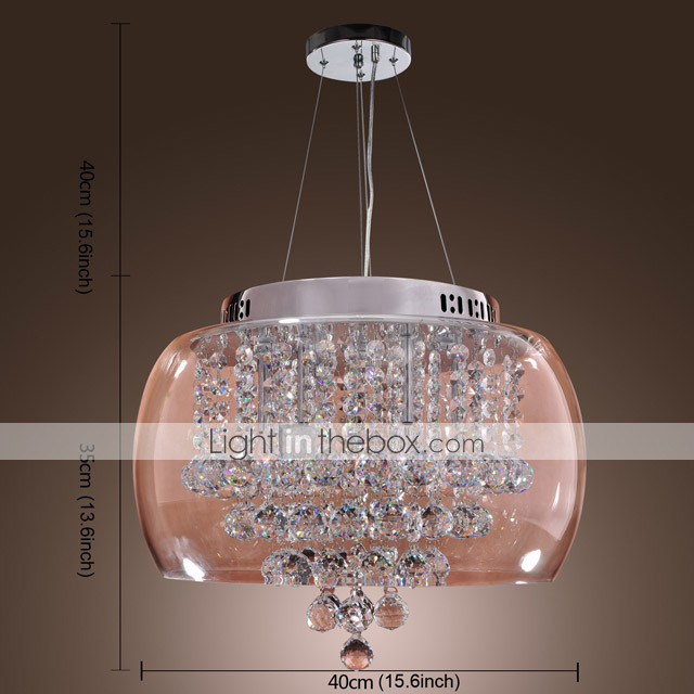 Artistic 6 - Light Crystal Pendant Lights with Glass Shade