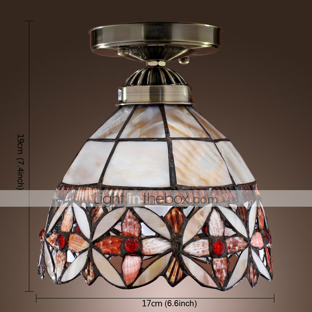 Tiffany Style Semi Flush Mount - Floral Patterned