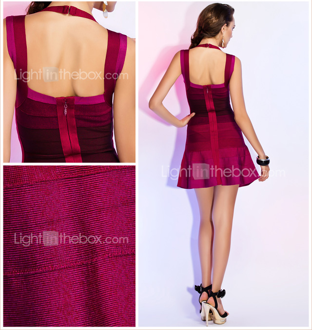 A-line Sweetheart Straps Sleeveless Short/Mini Bandage Dress