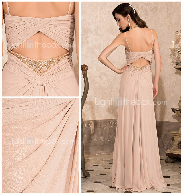 Sheath/Column Sweetheart Floor-length Chiffon Evening Dress With Criss Cross