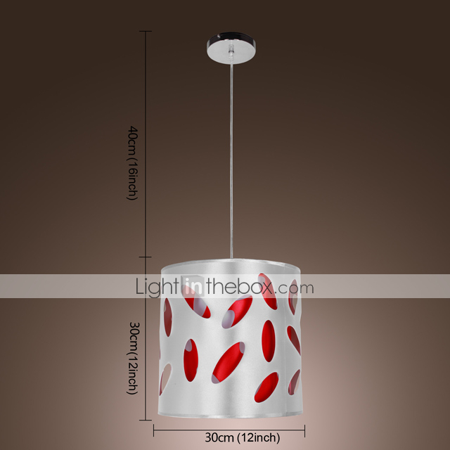 Modern Fabric 1-Light Pendant Light Cylinder Shaped