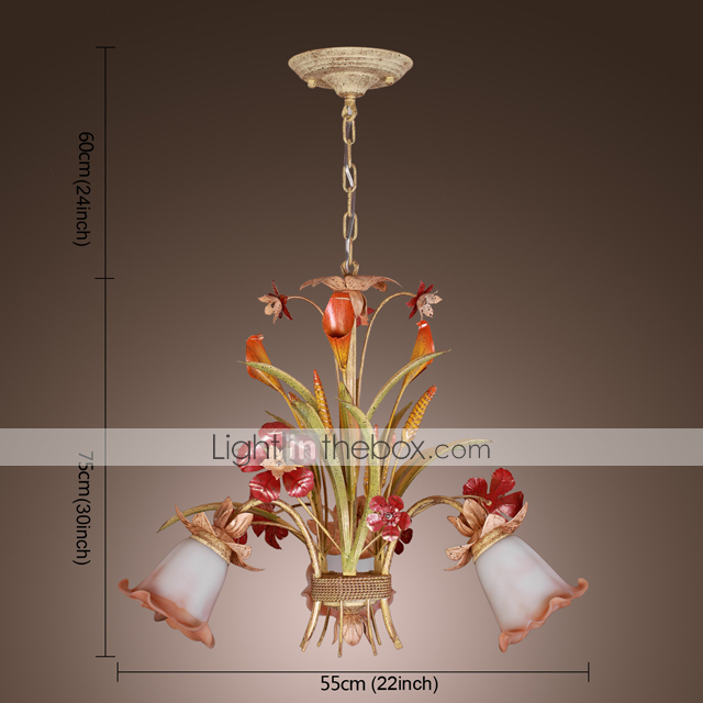 Floral Chandelier with 3 Lights