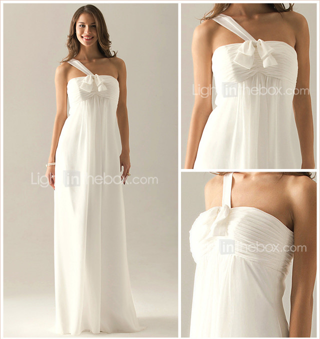 Empire One Shoulder Floor-length Chiffon Over Elastic Satin Bridesmaid/Wedding Party Dress
