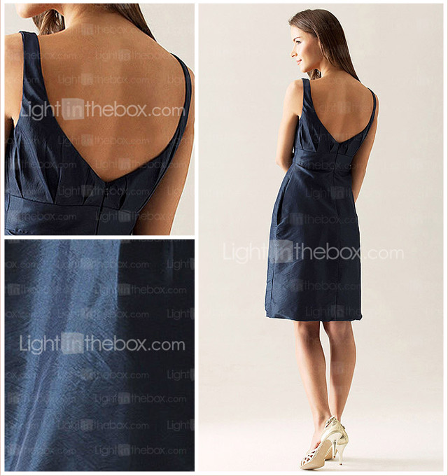 Sheath/Column Scoop Knee-length Taffeta Bridesmaid Dress