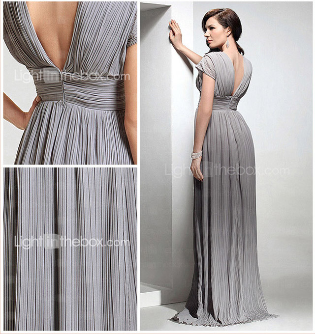 Chiffon Sheath/Column V-neck Sweep/Brush Train Evening Dress inspired by Mila Kunis