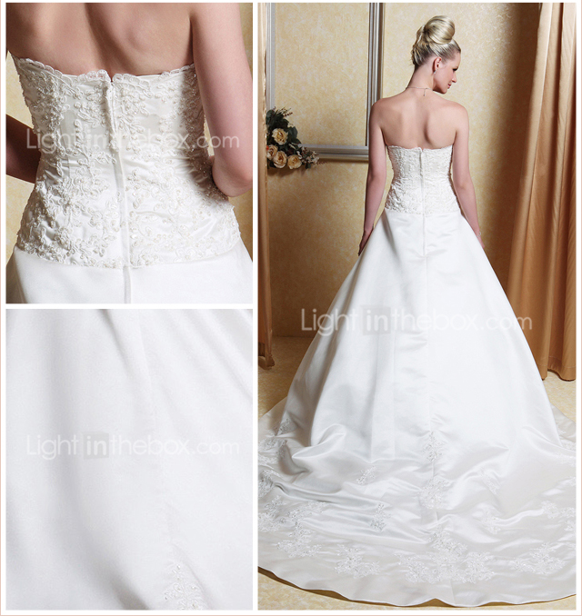 A-line Scalloped-Edge Neckline Court Train Satin Wedding Dress With A Wrap