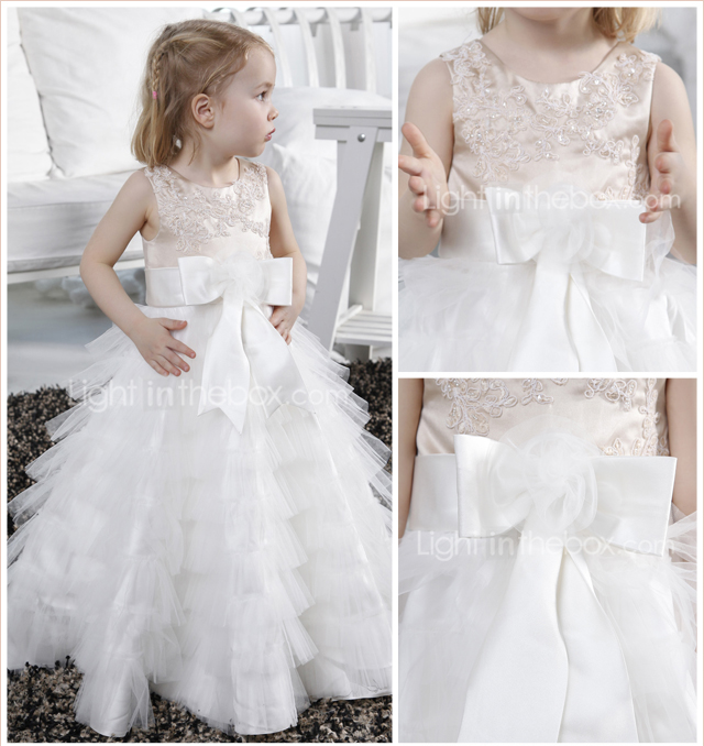 A-line Jewel Floor-length Tulle Satin Flower Girl Dress