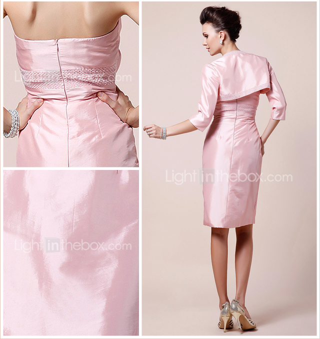 Sheath/Column Strapless Knee-length Beaded Taffeta Mother of the Bride Dress With A Wrap