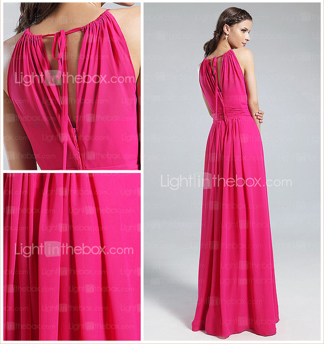 Sheath/Column Jewel Floor-length Chiffon Bridesmaid Dress
