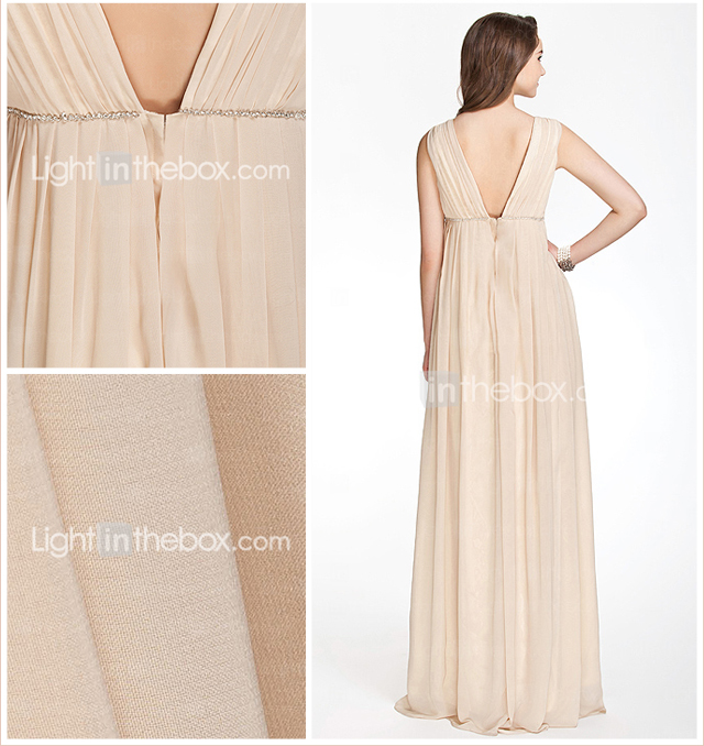 A-line V-neck Floor-length Chiffon Over Elastic Satin Bridesmaid/ Wedding Party Dress