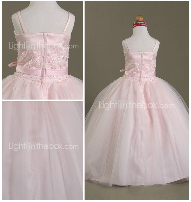 Ball Gown Spaghetti Straps Floor-length Satin Tulle Flower Girl Dress