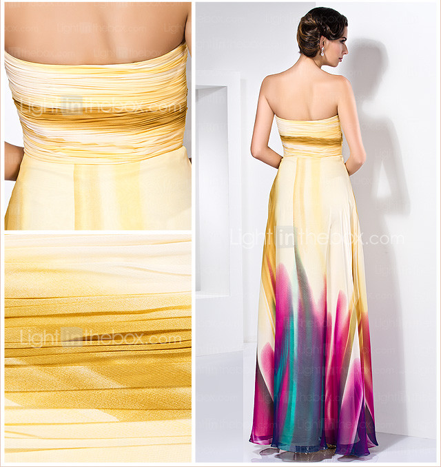 Sheath/Column Sweetheart Floor-length Chiffon Evening Dress With Crystal Detailing
