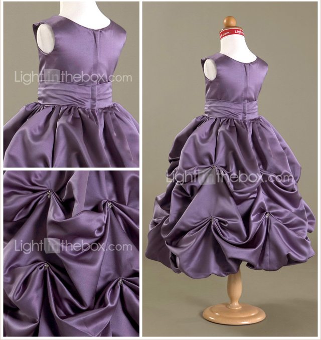 Ball Gown Scoop Tea-length Satin Flower Girl Dress