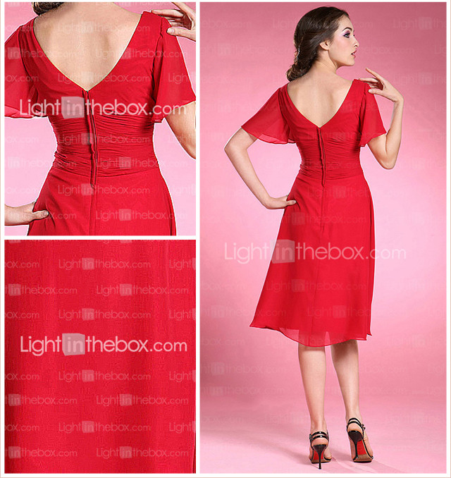 A-line Princess V-neck Knee-length Chiffon Mother of the Bride Dress