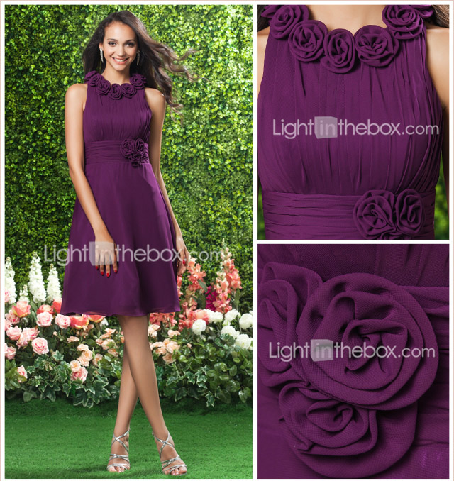 A-line Jewel Knee-length Chiffon Bridesmaid/Wedding Party Dress