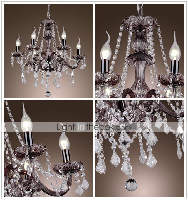 Crystal Chandelier with 6 Lights - Graceful Candle Featured Style