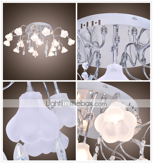 K9 Crystal ball Lampshade 16-Light Chandelier Floral Shaped