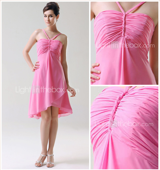 Empire Spaghetti Straps Knee-length Chiffon Bridesmaid/Wedding Party/Homecoming Dress