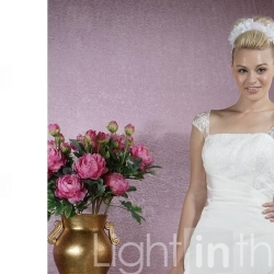 Princess A-line Square Chapel Train Satin Wedding Dresses for Bride (YCF122) - US$ 209.99