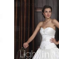 Ball Gown Sweetheart Royal Length Train Satin Wedding Dresses (WSM0482) - US$ 249.99