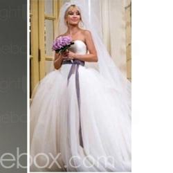 Kate Huds on Bride Wars Ball Gown Sweetheart Chapel Train Satin Tulle Celebrity Wedding Dress (WSM0362) - US$ 249.99