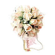 элегантный шампанского круглый свадебный букет / свадебный букет с шифоном бисера украшения (0797-sim023)
