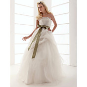 Ball Gown Strapless Floor-length Tulle Wedding Dress With Sashes