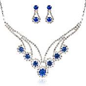 великолепный свадебный стразами свадебный комплект ювелирных изделий, в том числе ожерелья, серьги