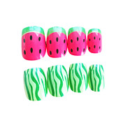 The Watermelon Style Nail Art Tips With Glue (24pcs)