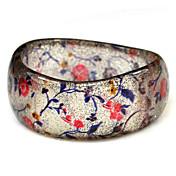 смолы круглый женская браслеты классического большой браслет в форме волны с красными цветами