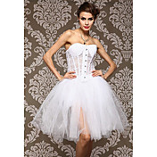 Lace/Tulle With Lace Strapless Front Busk Closure Corsets Shapewear (More Colors)