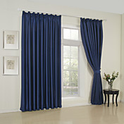 Solid Ink Blue Classic Blackout Curtains (Two Panels)