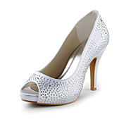 Satin Stiletto Heel Peep Toe Pumps With Crystal Wedding / Party Shoes (More Colors)