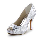 атлас пятку шпильках заглянуть ног насосы с кристально свадьба / партии обуви (больше цветов)